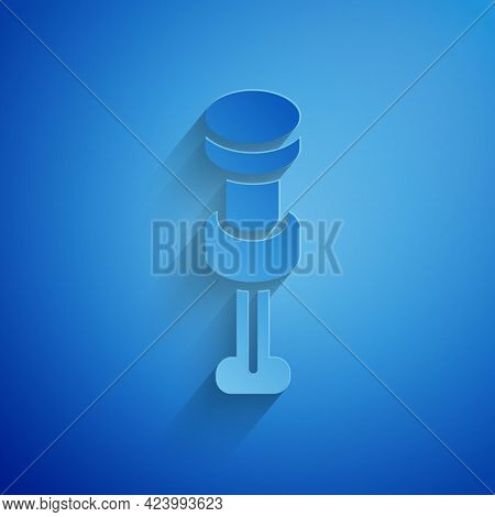 Paper Cut Push Pin Icon Isolated On Blue Background. Thumbtacks Sign. Paper Art Style. Vector