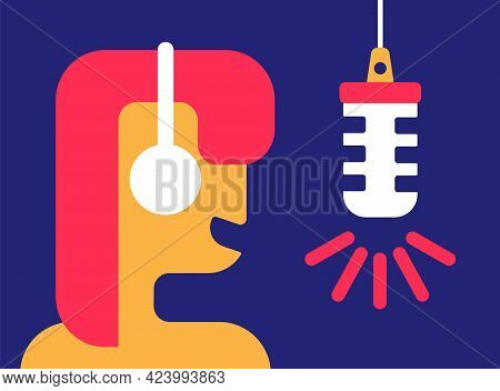 Woman In Headphone Broadcasting On The Air. Redhead Girl With Podcast And Retro Microphone. Voice An