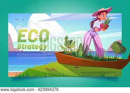 Eco Strategy Banner With Woman Planting Flowers In Old Boat On Sea Beach. Vector Landing Page Of Env