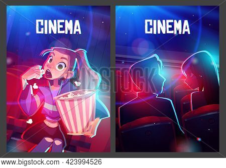 Cinema Posters With Audience In Movie Theater Hall. Girl With Popcorn And Couple Watching Film. Vect
