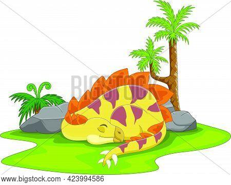 Vector Illustration Of Cartoon Cute Stegosaurus Dinosaur Sleeping