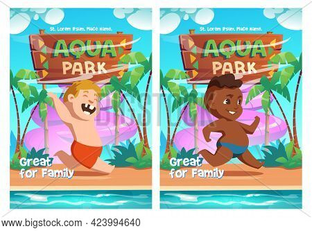 Aqua Park Cartoon Ad Posters With Happy Kids Playing In Amusement Aquapark With Water Attractions. B