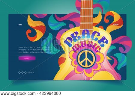 Peace Music Banner With Hippie Sign And Guitar. Retro Music Of 60s And 70s In Woodstock Festival Sty