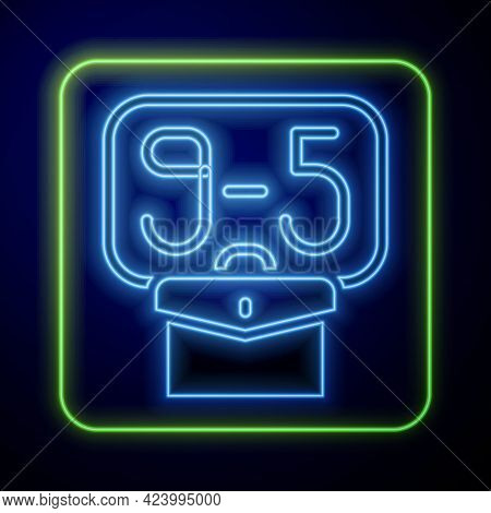 Glowing Neon From 9:00 To 5:00 Job Icon Isolated On Blue Background. Concept Meaning Work Time Sched