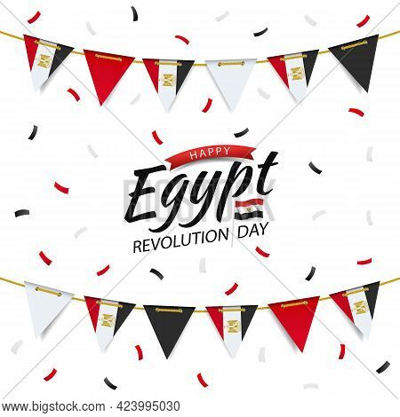 Vector Illustration Of Revolution Day Egypt. Garland With The Egyptian Flag On A White Background.