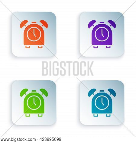 Color Alarm Clock Icon Isolated On White Background. Wake Up, Get Up Concept. Time Sign. Set Colorfu