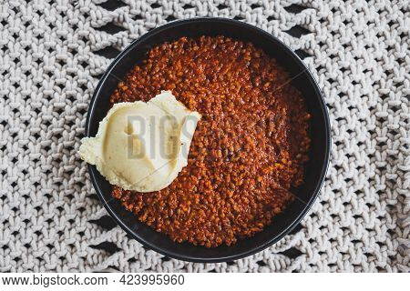 Vegan Lentil Cottage Pie With Mash Potato Topping Getting Prepared, Healthy Plant-based Food