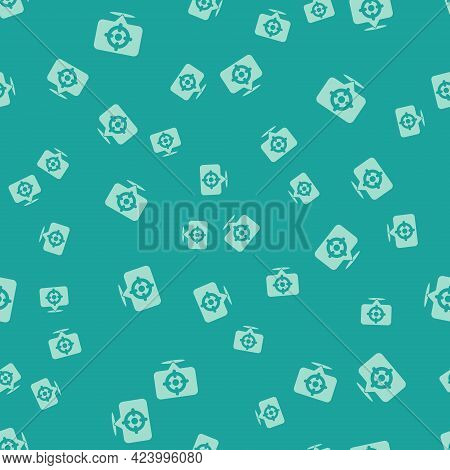Green Target Sport Icon Isolated Seamless Pattern On Green Background. Clean Target With Numbers For