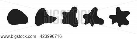 Random Abstract Liquid Organic Black Irregular Blotch Shapes Flat Style Design Fluid Vector Illustra