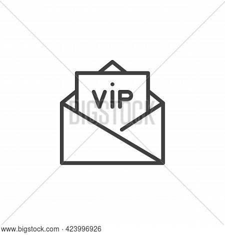Vip Invitation Line Icon. Linear Style Sign For Mobile Concept And Web Design. Envelope With Vip Car