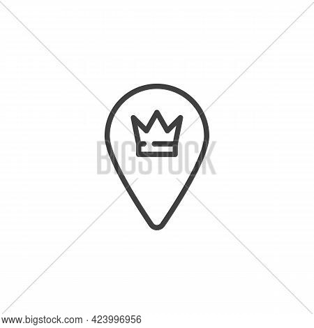 Vip Place Location Line Icon. Linear Style Sign For Mobile Concept And Web Design. Vip Map Pointer O