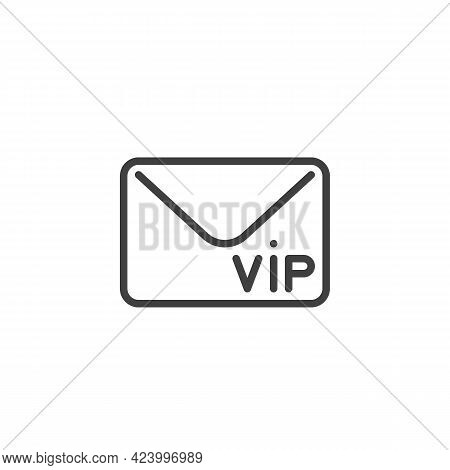 Vip Invitation Envelope Line Icon. Linear Style Sign For Mobile Concept And Web Design. Vip Member O