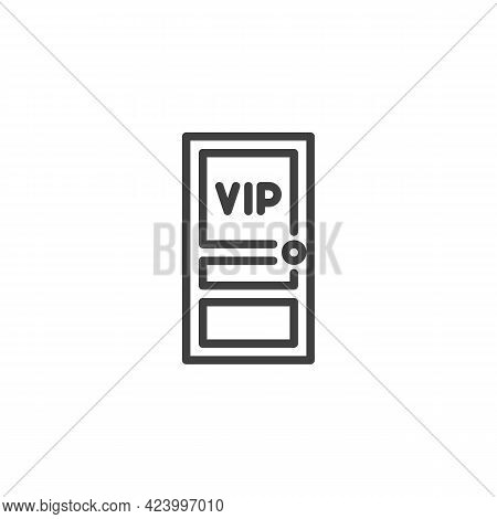 Vip Entrance Line Icon. Linear Style Sign For Mobile Concept And Web Design. Vip Door Outline Vector
