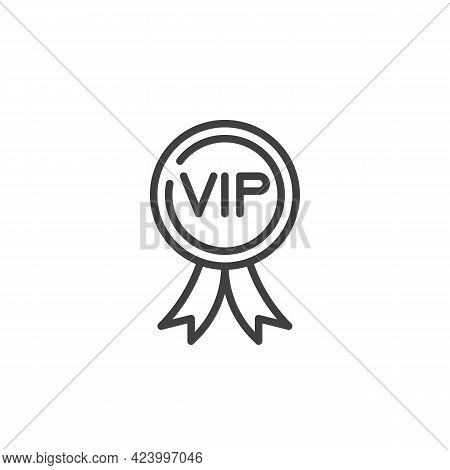 Vip Member Badge Line Icon. Linear Style Sign For Mobile Concept And Web Design. Vip Award Outline V