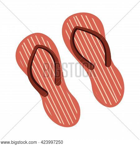Beach Shoes With Stripes. Flip Flops, Summer Footwear. Close Up On Isolated Background. Vector Stock