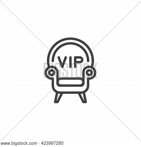 Vip Seat Line Icon. Linear Style Sign For Mobile Concept And Web Design. Vip Armchair Outline Vector