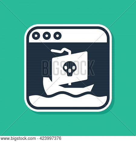 Blue Internet Piracy Icon Isolated On Green Background. Online Piracy. Cyberspace Crime With File Do