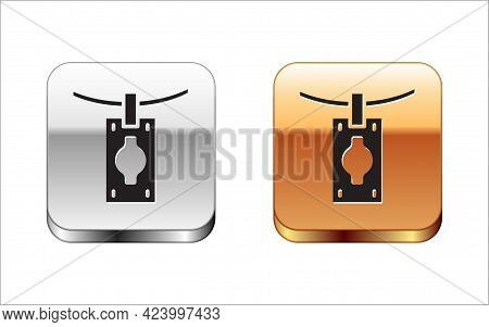 Black Money Laundering Icon Isolated On White Background. Money Crime Concept. Silver And Gold Squar