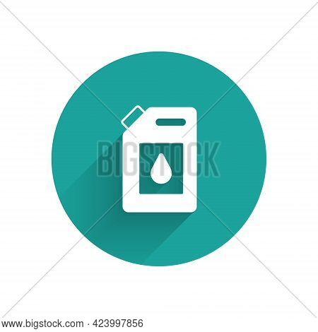 White Canister For Motor Machine Oil Icon Isolated With Long Shadow. Oil Gallon. Oil Change Service