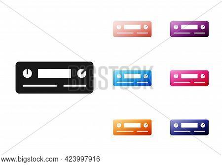 Black Car Audio Icon Isolated On White Background. Fm Radio Car Audio Icon. Set Icons Colorful. Vect