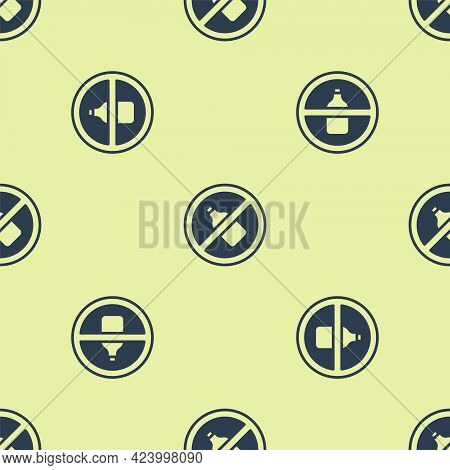 Blue No Alcohol Icon Isolated Seamless Pattern On Yellow Background. Prohibiting Alcohol Beverages.
