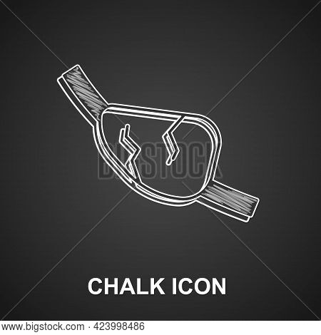 Chalk Pirate Eye Patch Icon Isolated On Black Background. Pirate Accessory. Vector
