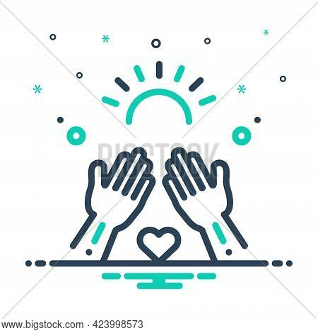 Mix Icon For Goodness Well Being Virtue Kindness Mildness Hands
