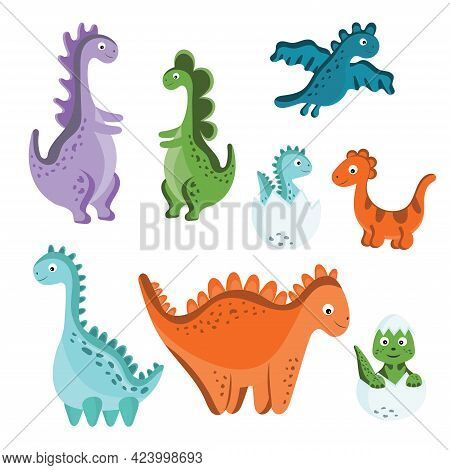 Set Of Cute Vector Dinosaurs Isolated On White Background. Cartoon Dinosaurs, Baby Dino, Litte And B