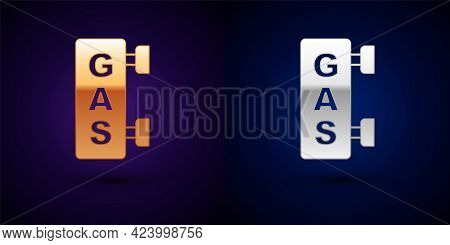 Gold And Silver Gas Filling Station Icon Isolated On Black Background. Transport Related Service Bui