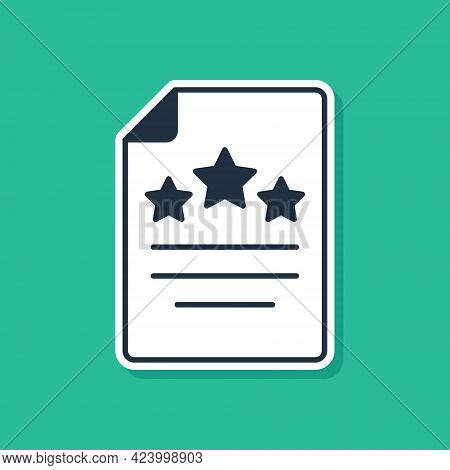Blue Declaration Of Independence Icon Isolated On Green Background. Vector