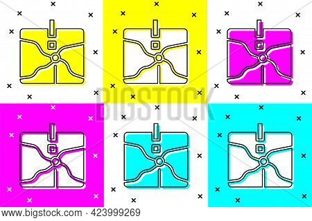 Set Intersection Point Icon Isolated On Color Background. Vector