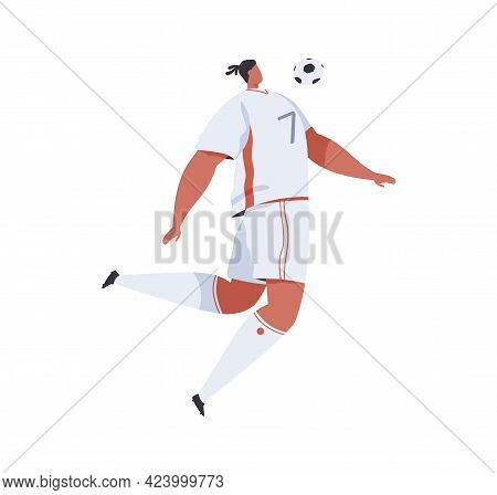 Football Player Jumping And Trapping Soccer Ball With Chest. Professional Footballer In Uniform Play