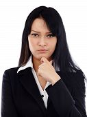 Closeup of caucasian businesswoman looking distrustful at camera. Isolated on white background. Business concept poster
