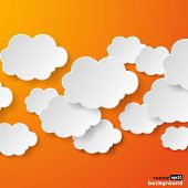 Abstract speech bubbles in the shape of clouds used in a social networks on orange background. Vector eps10 illustration poster