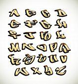 Graffiti font alphabet letters. Hip hop type grafitti design poster