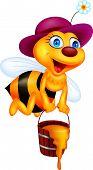 Vector illustration of vee cartoon with honey bucket poster