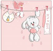 It's a girl - baby announcement card poster