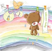 Welcome baby - baby announcement card poster