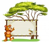 Illustration of a notice board, a bear and a honey bee on a white background poster