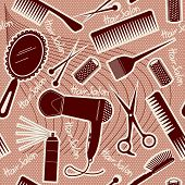 hairdressing equipment seamless pattern.Vector background for design poster