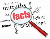 A magnifying glass hovering over several words like deceptions and lies, at the center of which is Facts poster