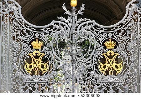Patterned Gate Of The Hermitage In St. Petersburg