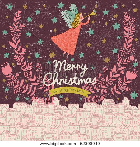 Angel in the sky. Vintage Christmas card in stylish colors in vector. Bright concept holiday background