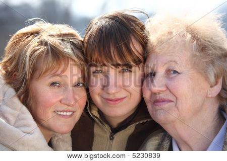 Portrait Of Women Of Three Generations Of One Family