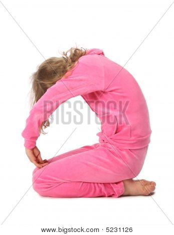 Girl In Pink Clothes Represents  Letter O