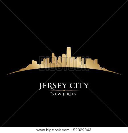 Jersey City New Jersey Skyline Silhouette Black Background
