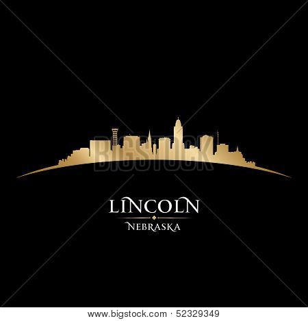 Lincoln Nebraska City Silhouette Black Background