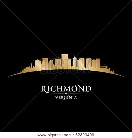 Richmond Virginia City Silhouette Black Background