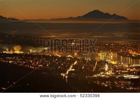 Burrard Inlet Twilight, Mount Baker, Vancouver