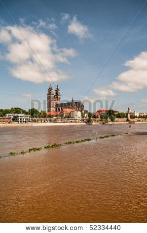 Flooding In Magdeburg, Cathedral At River Elbe, June 2013